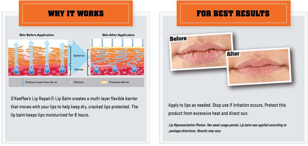 O'Keeffe's Lip Repair Info Images